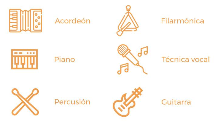 Acordeón, piano, percusión, filarmónica, técnica vocal, guitarra